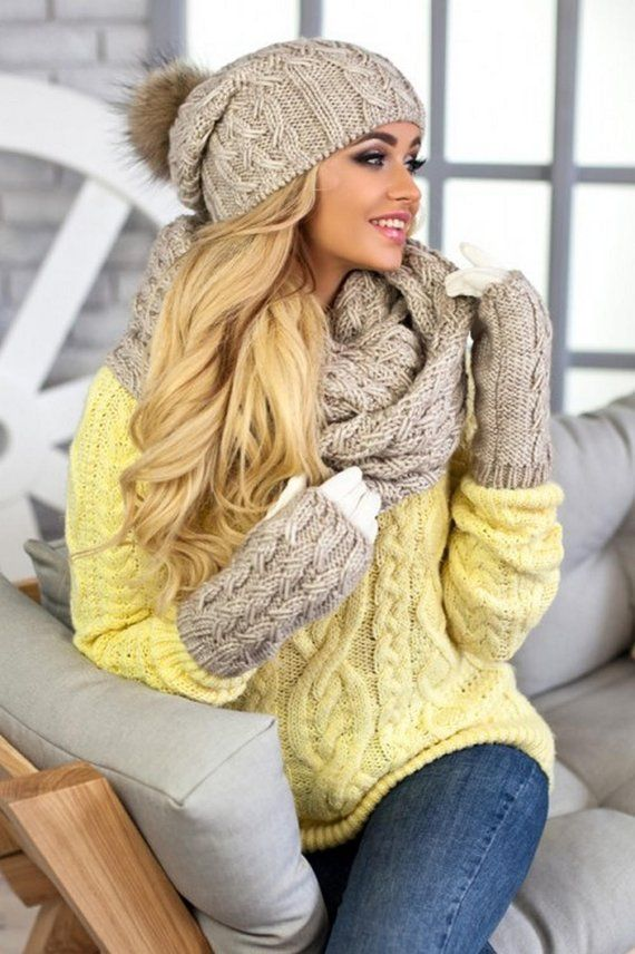 ae21961b532 Hat Scarf Gloves Set This winter pom pom beanie infinity scarf and gloves  set will definitely keep your head warm in the coldest weather