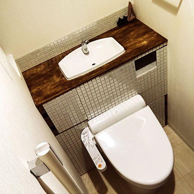 K43167さんのbathroom タイルシール トイレタンク隠し Diy アンティークワックス 初投稿に関する部屋写真 トイレ タイルシール トイレタイル トイレタンク