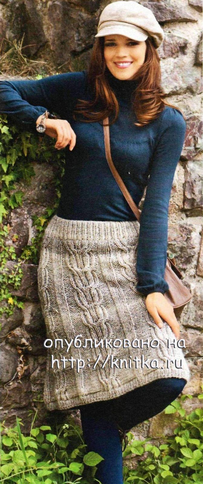 Меланжевая юбка связнная спицами