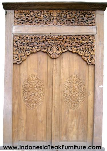 Traditional Javanese Carved Wood Doors made of Teak Wood   Java Wood Door Gebyok.