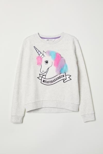 c8d3e750a409 Sweatshirt with Appliqués - Light gray melange/unicorn - Kids | H&M US 3