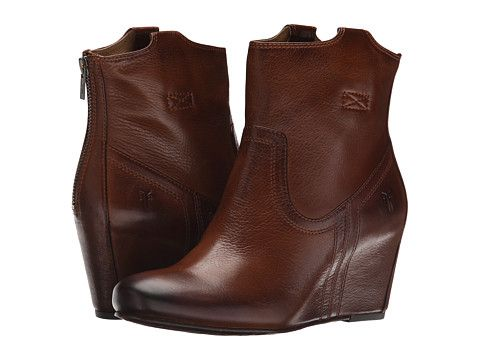 Frye Carson Wedge Bootie Cognac Soft Vintage Leather