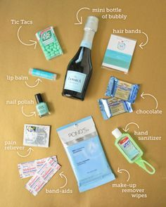 Bachelorette Party Survival Kit - We can buy cute little git bags at the dollar store