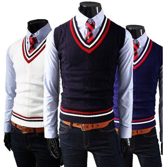 Spring 2014 School Uniform Vest V Neck Sweater Vest Kids Striped Matched  Knitted Vest Men Black