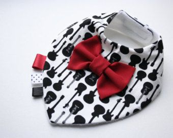 Baby bib boy removable bow tie, nice baby shower, baptism / christening gift for newborn, infant, B & W guitar