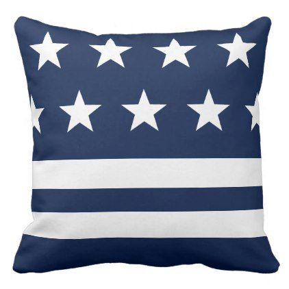 Blue and White Stars and Stripes Nautical Throw Pillow - blue gifts style giftidea diy cyo