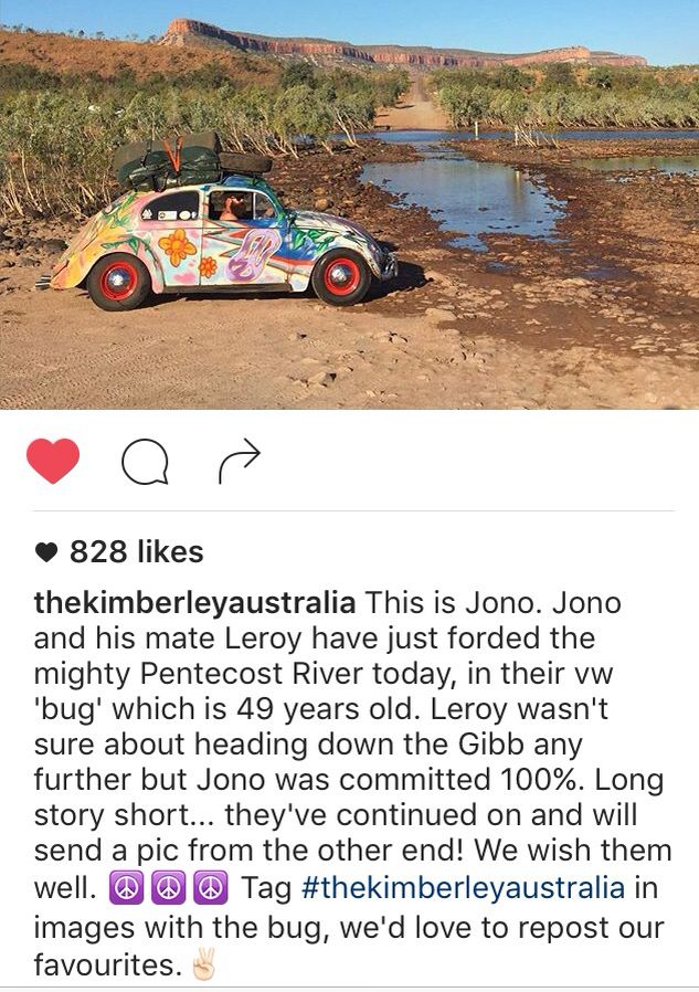 Bumped into this on instagram @woodyworldpacker   A bloke travelling the Gibb River Road in a VW Bug