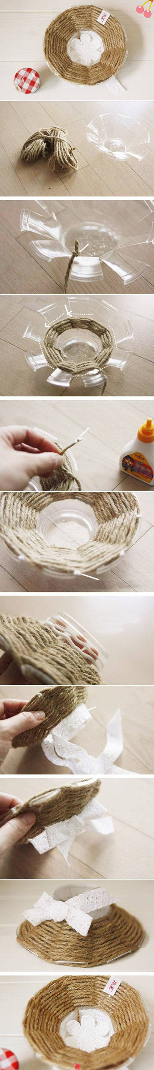 Add a little rustic charm to that old plastic container....with magic hemp tricks!