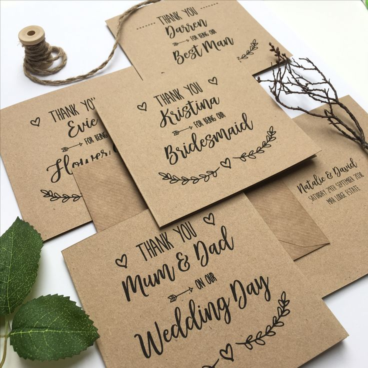 Rustic wedding party thank you cards for your Bridesmaids, Best Man, Usher and all the other important people there on your big day! Printed on kraft card.