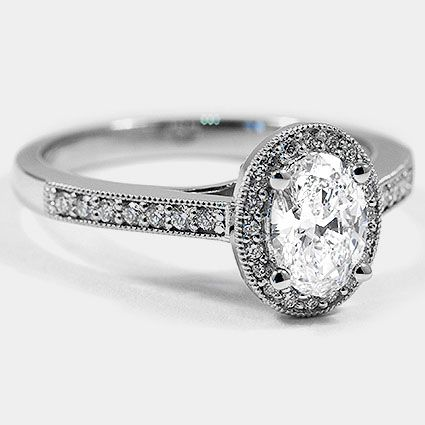 Platinum Felicity Diamond Ring / / Set mit einem 0,80 Karat, Oval, Super Ideal Cut, …