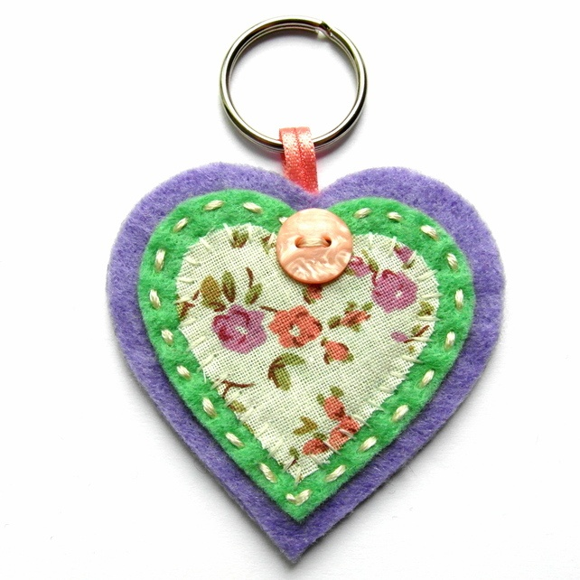 Heart Keyring or Bag Charm - Felt - Lilac and Green Floral £5.50