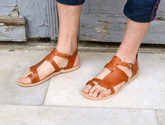 6c7922c9bc3 Men leather sandals  Gift for him  Greek sandals  Men sandals ...