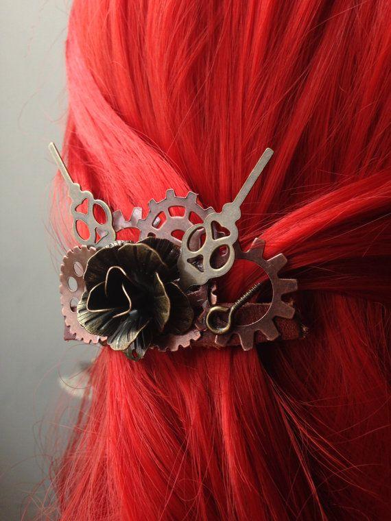 Steampunk Hair Accessory w/ Rose Steampunk by ArcanumByAerrowae