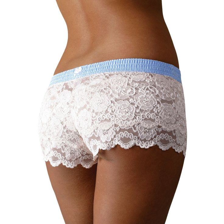FOXERS Ivory Lace Boxers with Light Blue waistband. Perfect for the bride s wedding lingerie.