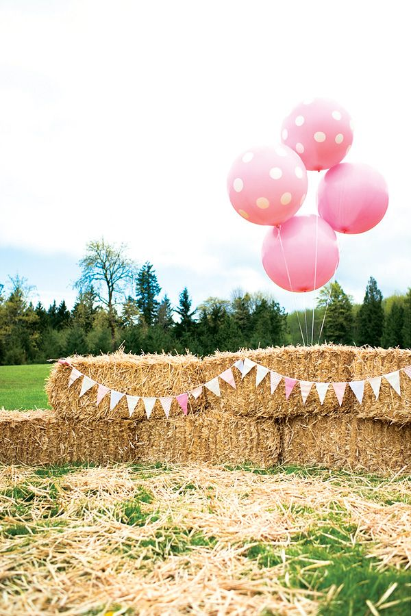 Darlin' Pink Brown Pony Party - Oversized balloons + hay bales + bunting flags