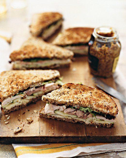 Turkey, Cheddar, and Green-Apple Sandwich (whole grain bread, grainy mustard, mayo, white-meat turkey, extra-sharp cheddar cheese, green apple, red-leaf lettuce)