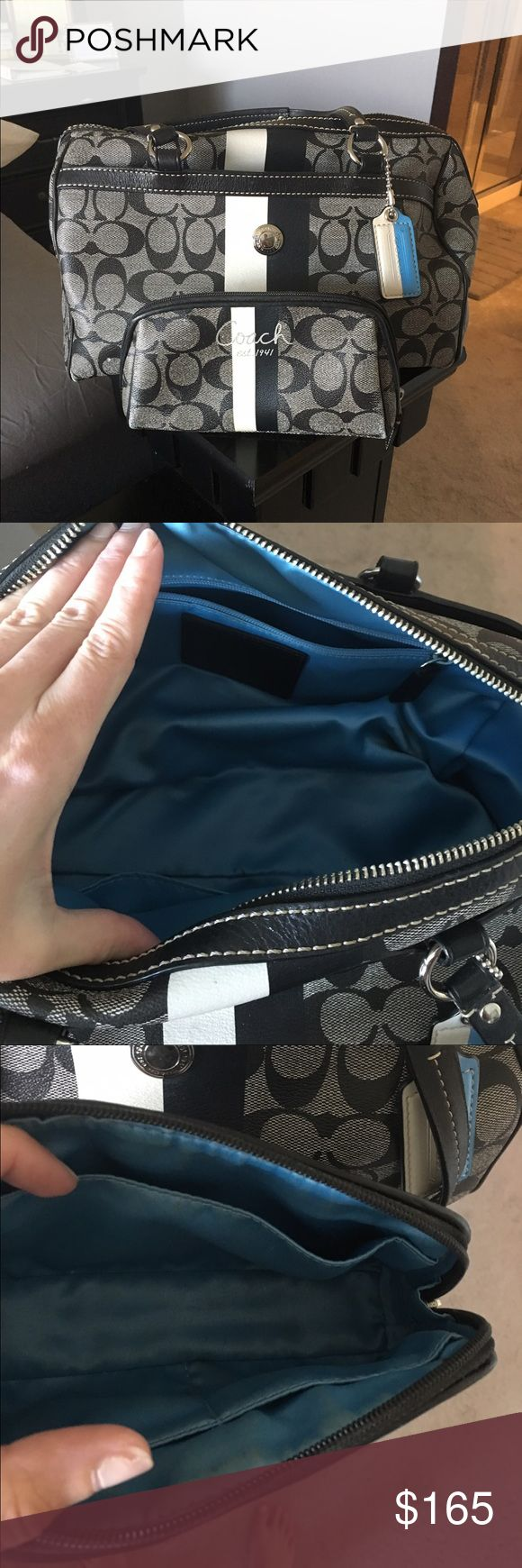 AUTHENTIC COACH duffle bag purse & makeup bag AUTHENTIC black and white duffle bag/bucket purse. Sold with matching makeup bag. Barely used so it's in excellent condition and SUPER easy to keep clean! Coach Bags Shoulder Bags