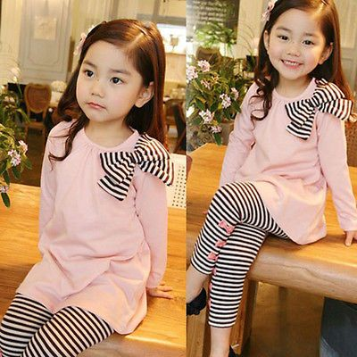 2PCS Toddler Kids Baby Girls Autumn Outfits Clothes T-shirt Tops+ Leggings Pants