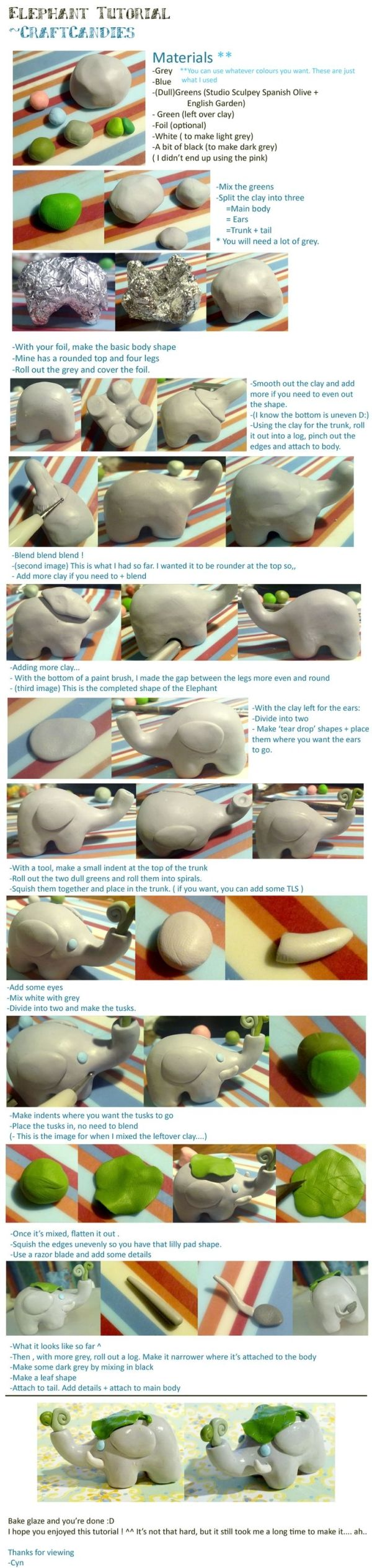 Polymer Clay : Elephant tutorial by ~CraftCandies on deviantART by angelique