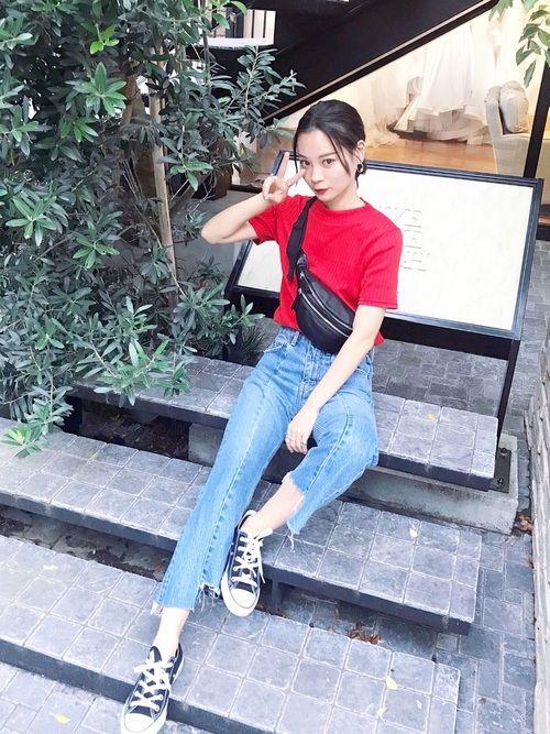 c1aee818994 アジアのストリートスタイル, 着こなしいろいろ, 服, ママのジーンズ, 韓国ファッション