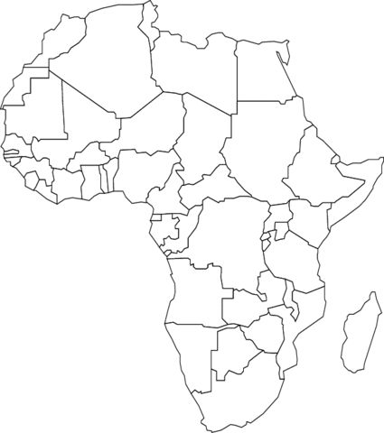 Mapa da África Página para colorir