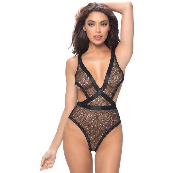 Oh La La Cheri Aubriana Teddy ($38) ❤ liked on Polyvore featuring intimates, lingerie, women, teddy lingerie and sexy lingerie
