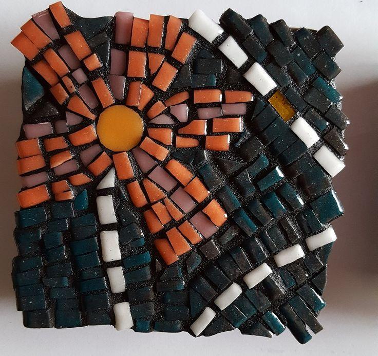 Coaster, orange flower, 10x10cm, made with mosaic glass
