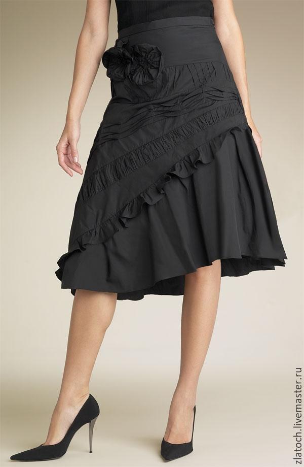 Купить Офисная юбка -бохо с цветочным декором. - черный, однотонный, офисный стиль, юбка в офис