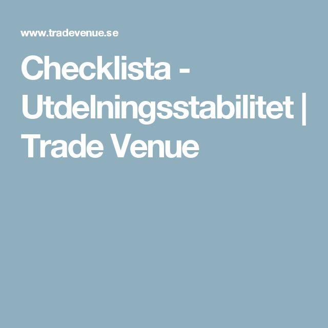 Checklista - Utdelningsstabilitet | Trade Venue