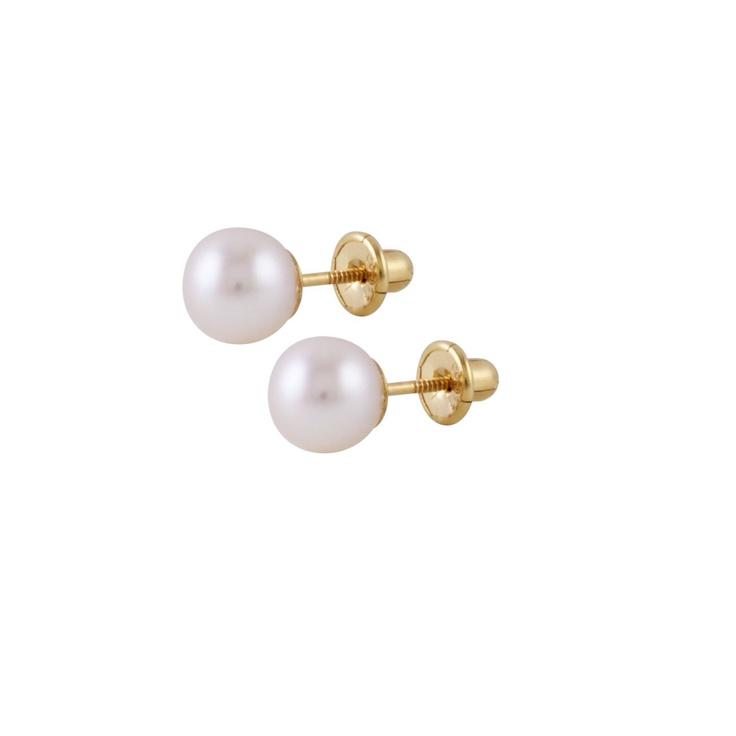 Pendiente de Oro amarillo, perla cultivada 6,5mm