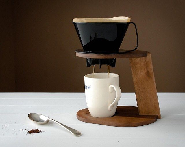 Wood pour over coffee stand