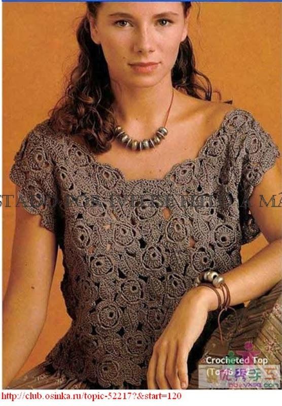 Irish Crochet Lace Flat Flower and Leaf Shirt (with chart and placement of motifs!)    Ivelise Feito à Mão: Linda Blusa em Crochê Rosetas e Folhas!
