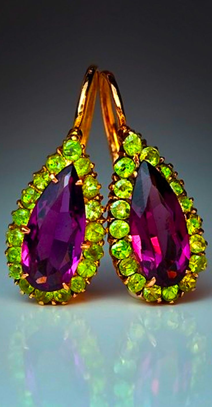 Antique Russian Drop Almandine (garnet) & Demantoid Earrings  --  Circa 1899-1908