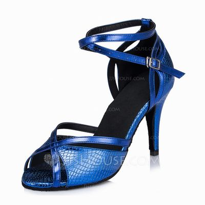 Women's Latin Heels Sandals Leatherette Ankle Strap Dance Shoes