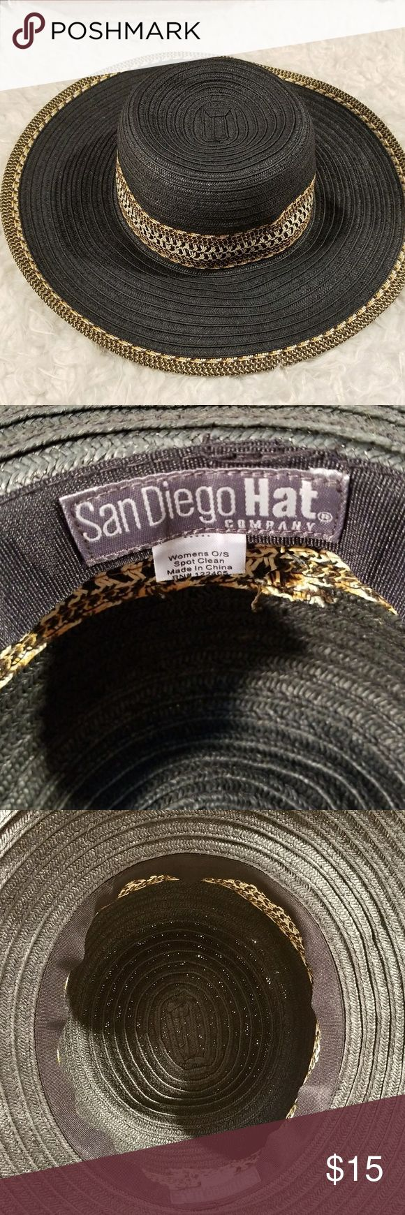 """Super Fun and Beautiful Trimmed Ladies Sun Hat💕 Head Circumference 22.5 Brim 4"""" all measurements are approximate ~ EUC ~ San Diego Hat Company Accessories Hats"""