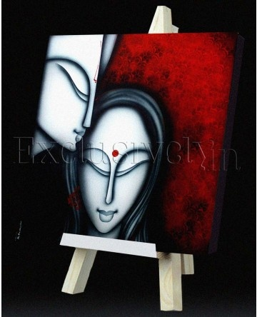 Limited Edition 'Two Portrait with Flute' Painting with Red Backdrop