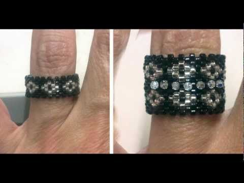 ▶ Beading4perfectionists : Peyote ring with miyuki and swarovski beads beadng tutorial - YouTube