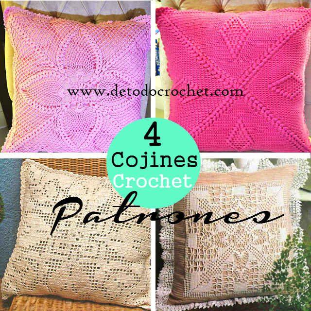 4 patrones gráficos de almohadones cojines crochet