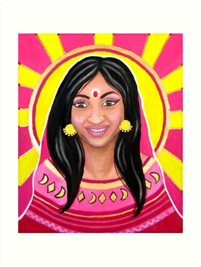 Indian Woman and the Sun - Acrylic Portrait Painting by Katri Ketola. Pink and yellow colored India themed art. Bright and colorful portrait painting of a happy and smiling Indian woman with the sun in the background. I've been meaning to do a Tarot card design for a long time so, when I saw it was the YTAC theme for this month, I had to do it. The actual theme is Cards of all fortunes, fables and fates and I'm taking part (unofficially) for the first time with this Tarot card piece.