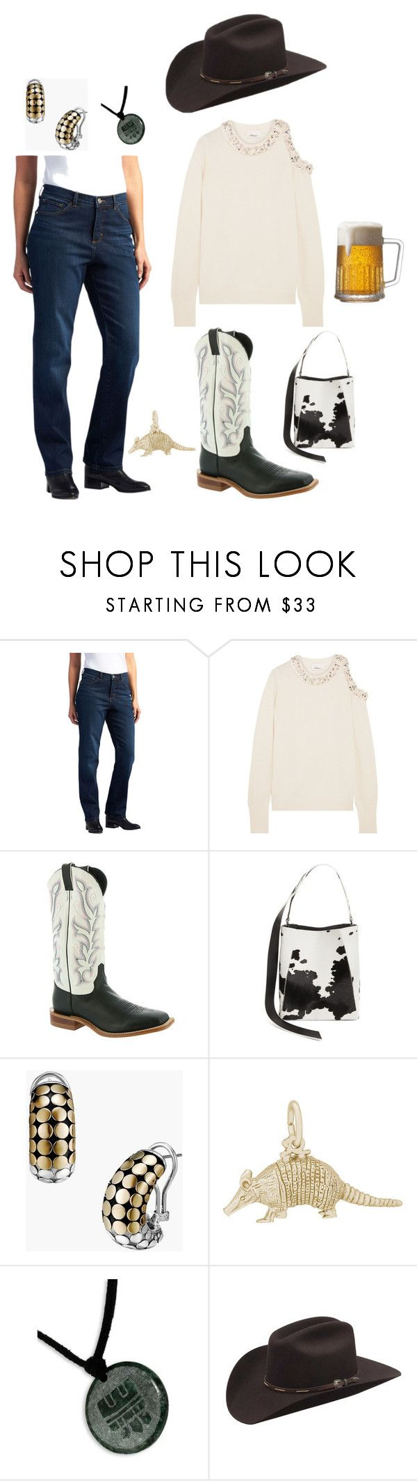 """Untitled #3558"" by moestesoh ❤ liked on Polyvore featuring Lee, 3.1 Phillip Lim, Justin Boots, Calvin Klein 205W39NYC, John Hardy, Rembrandt Charms, NOVICA and Silverado"