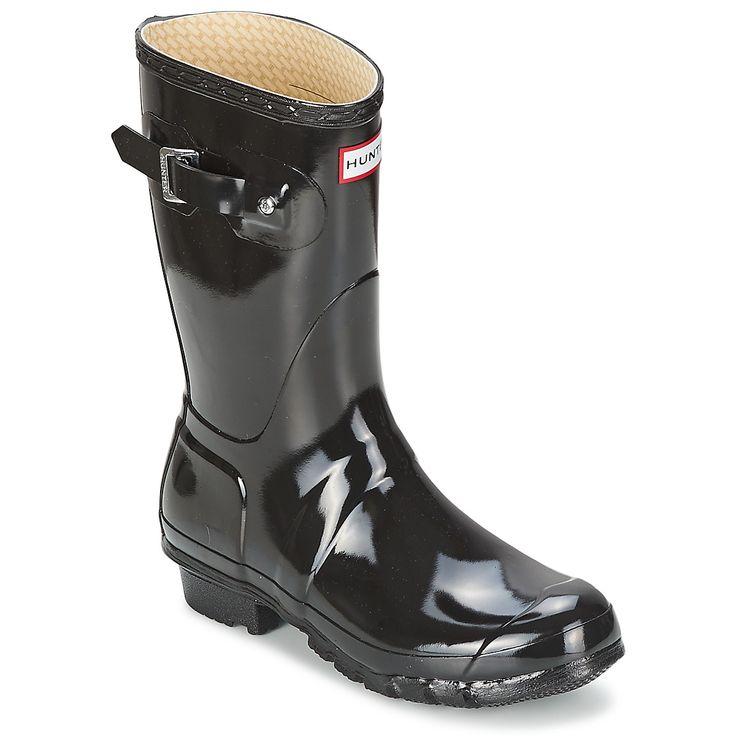 Bottes de pluie Hunter Women's Original Short Gloss Noir prix promo Bottes de pluie femme SPARTOO 129.00 €