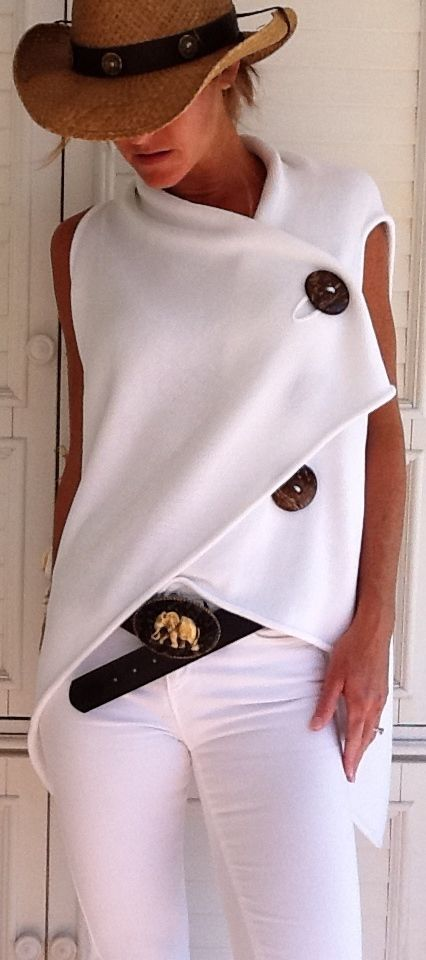 White with large wood buttons. Contrast.