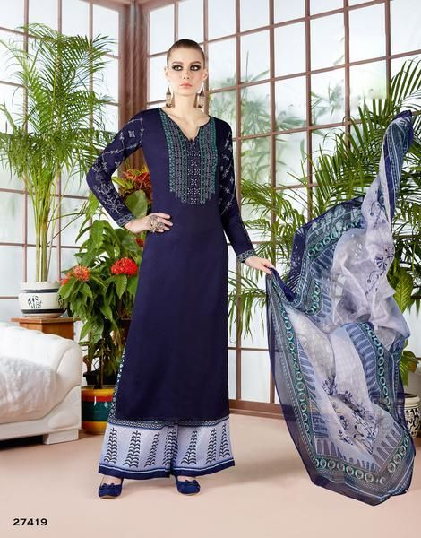 Designer Navy Blue Color Long Kurti With Palazzo Partywear Palazzo Suits For GirlShop now the #shoponlinepalazzosuits #suitswithpalazzo #palazzosuits #buypalazzosuitsforwomen's only at Ladyindia.com https://ladyindia.com/collections/palazzo-suits