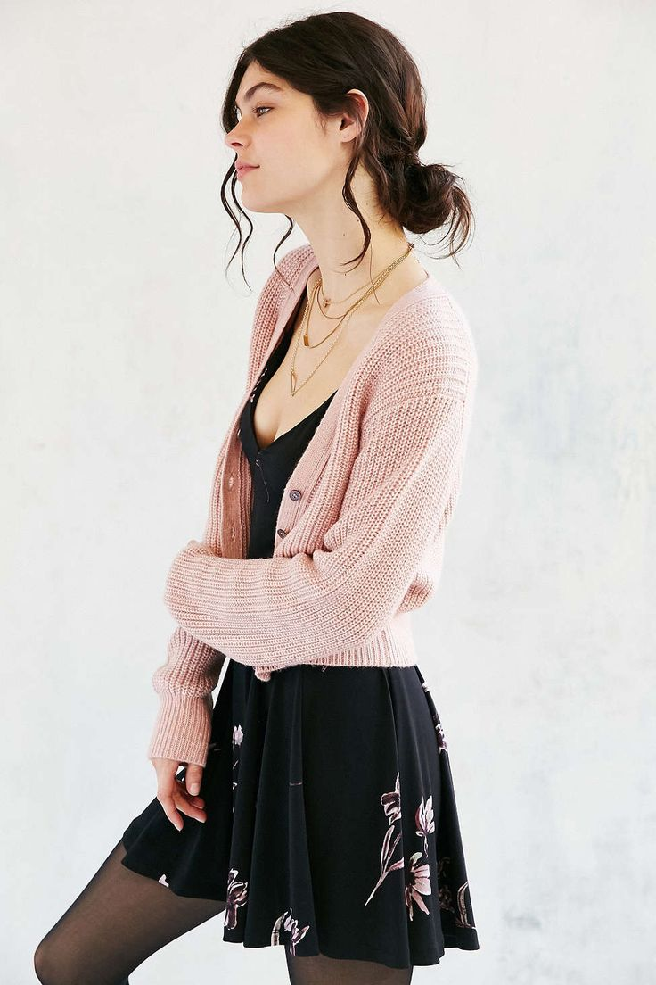 Kimchi Blue Cozy Cropped Cardigan - love the proportions, and the blush color over the black