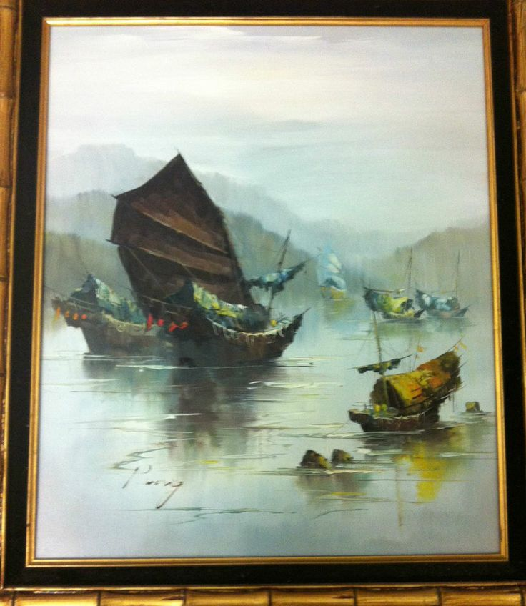 Chinese Junk Boat Original Oil Painting By P Wong Signed