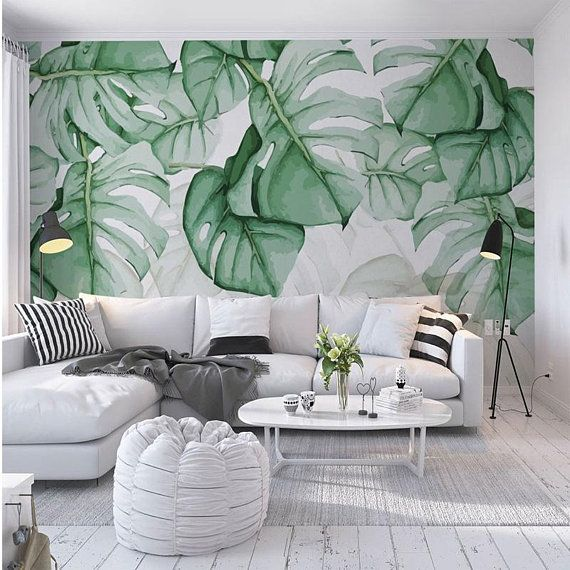 Rainforest Tropical Green Leaves Wallpaper Wall Stickers Tropical Palm Leaves Self Adhensive Tropic Home Wallpaper Green Leaf Wallpaper Natural Home Decor