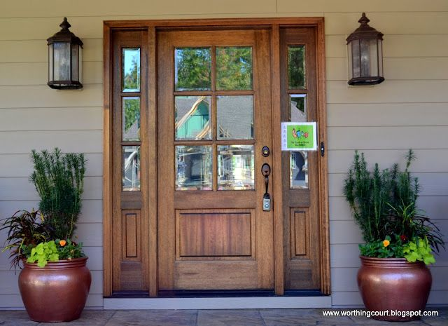 Front Door With Sidelights, Oversized Exterior Lights And Filled Containers  Via Worthing Court Blog Design Ideas