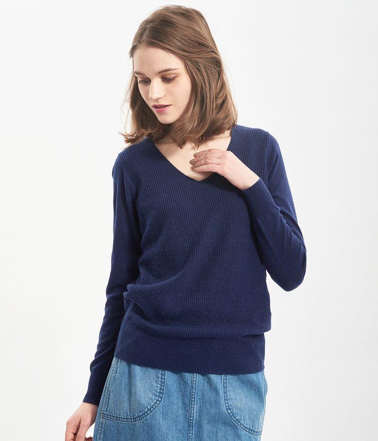 ROPÉ PICNIC(ロペピクニック)|アンゴラ混片畦Vネックニットプルオーバー V-necked knit pullover |NAVY #J'aDoRe JUN ONLINE #J'aDoRe Magazine