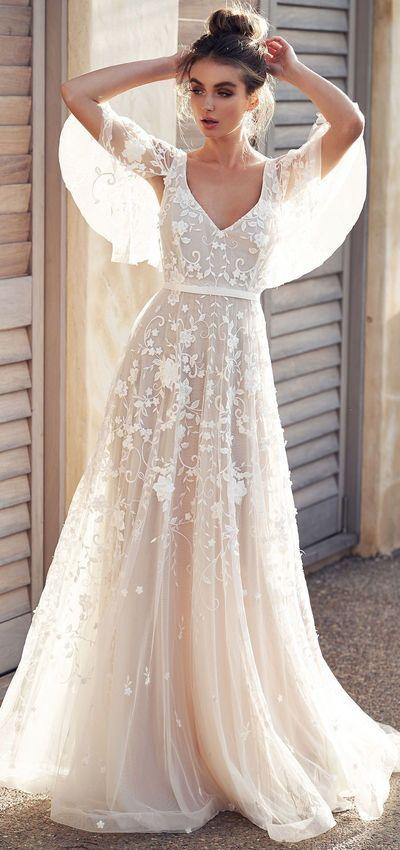 2019 Romantic White Flower Appliques Wedding Dress,Lace Long Bridal Dresses,Wedding Dress,898 from Happybridal