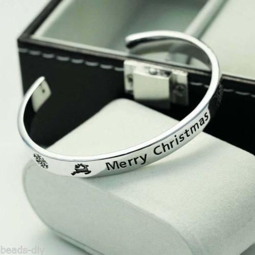 1PC BD Fashion Simple English Lettering Alloy Christmas Opening Bracelet Jewelry